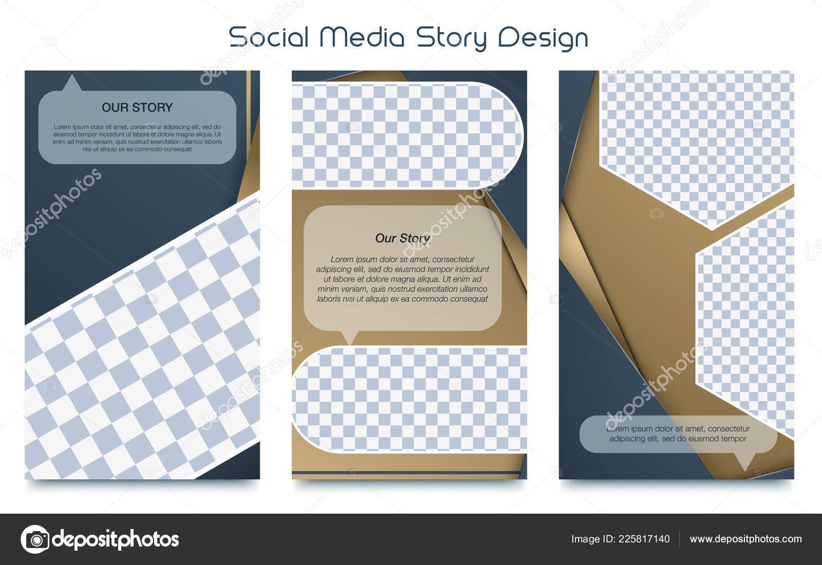 Instagram Stories Template Photo Frame Vector Set — Stock
