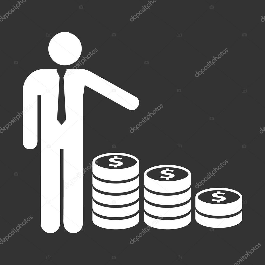 people icon element isolated vector on a black background.