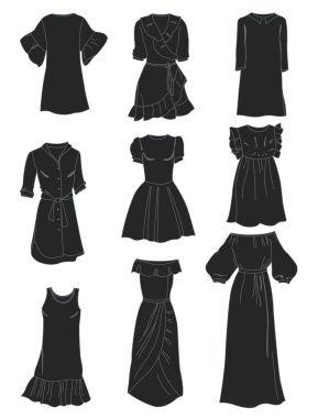 Set of summer dresses silhouettes, different models for all occasions, isolated on white background.