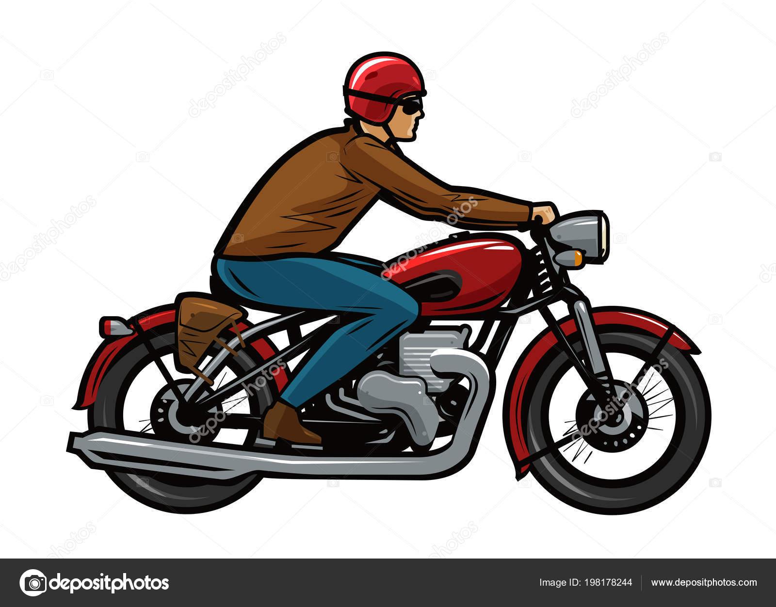 Motorista montando una motocicleta ilustraci n vectorial - Dessin de motard ...