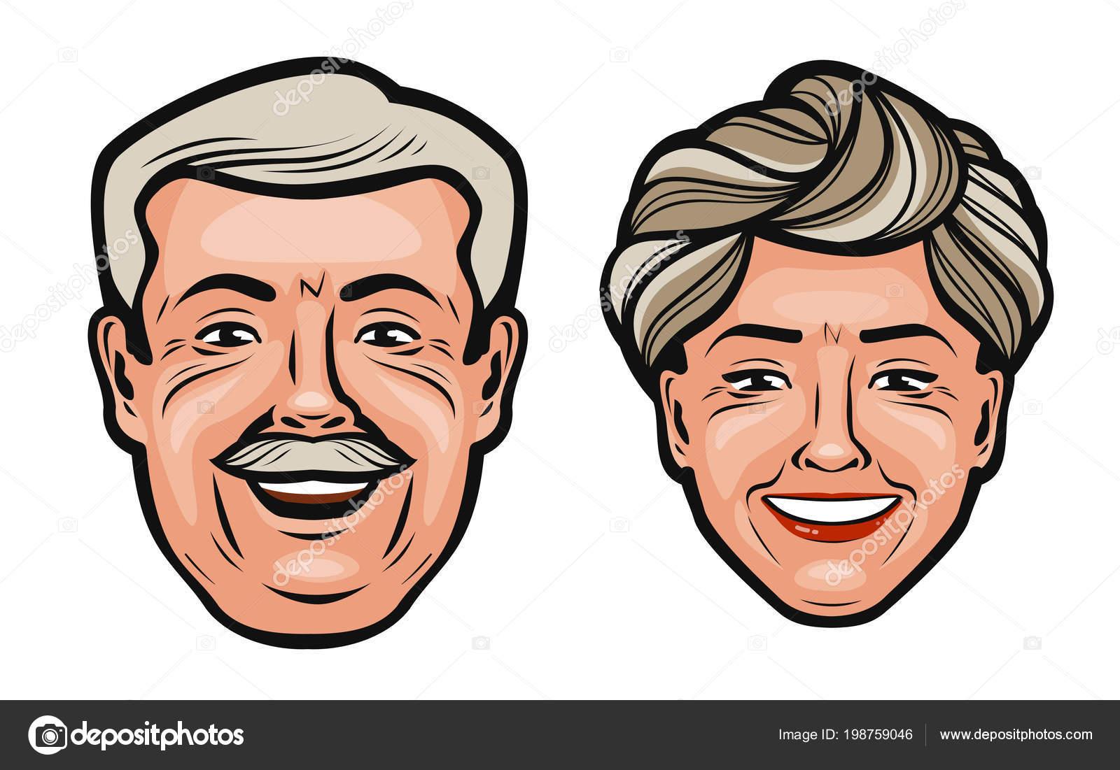 Las Personas Feliz Abuelo Abuela Ilustración Vectorial