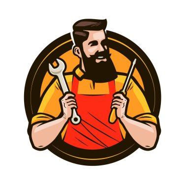 Repair, maintenance logo or label. Repairman holds in hands tools a wrench and screwdriver. Cartoon vector stock vector
