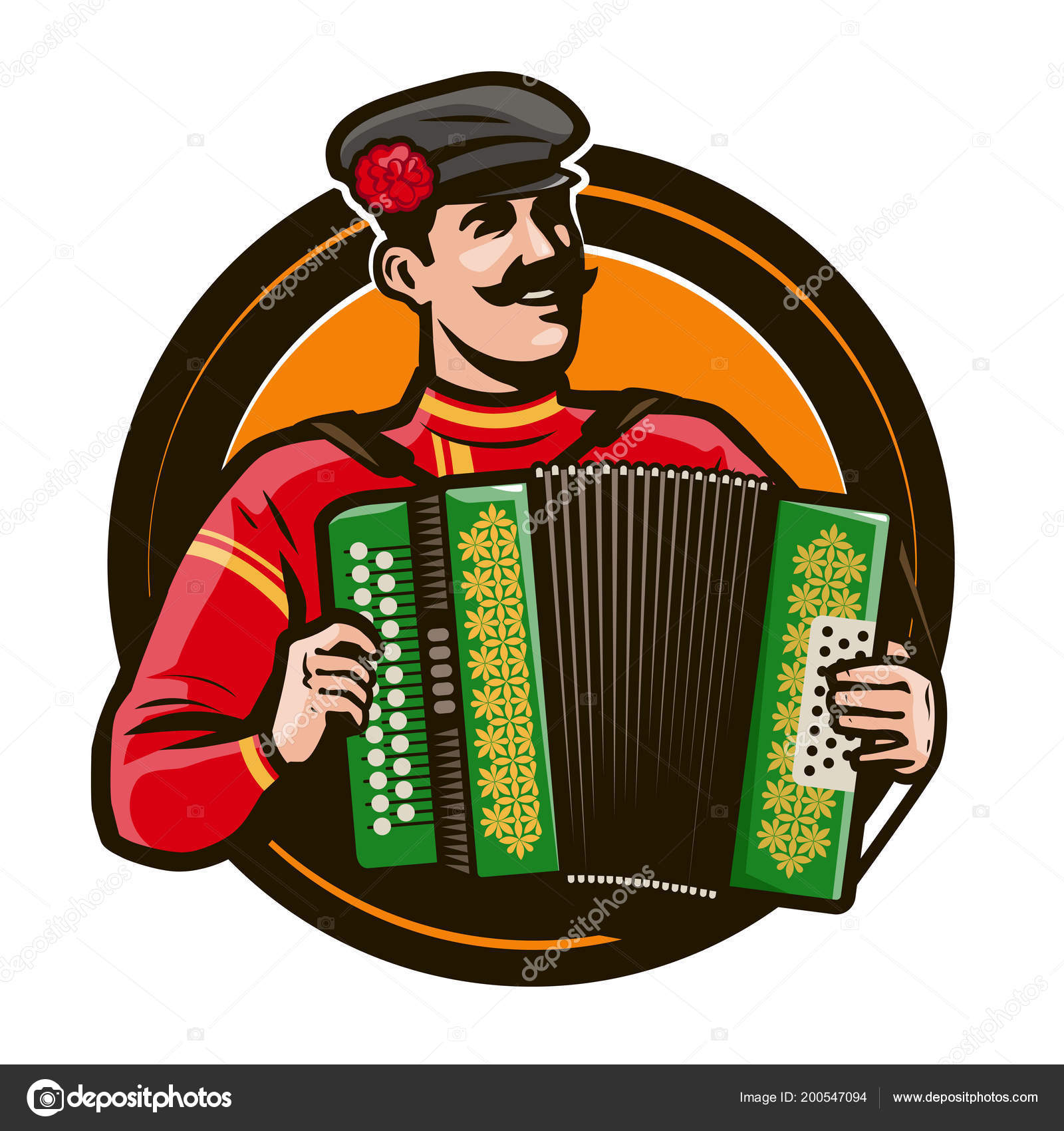 Happy Accordion Player Playing Musical Instrument Russian