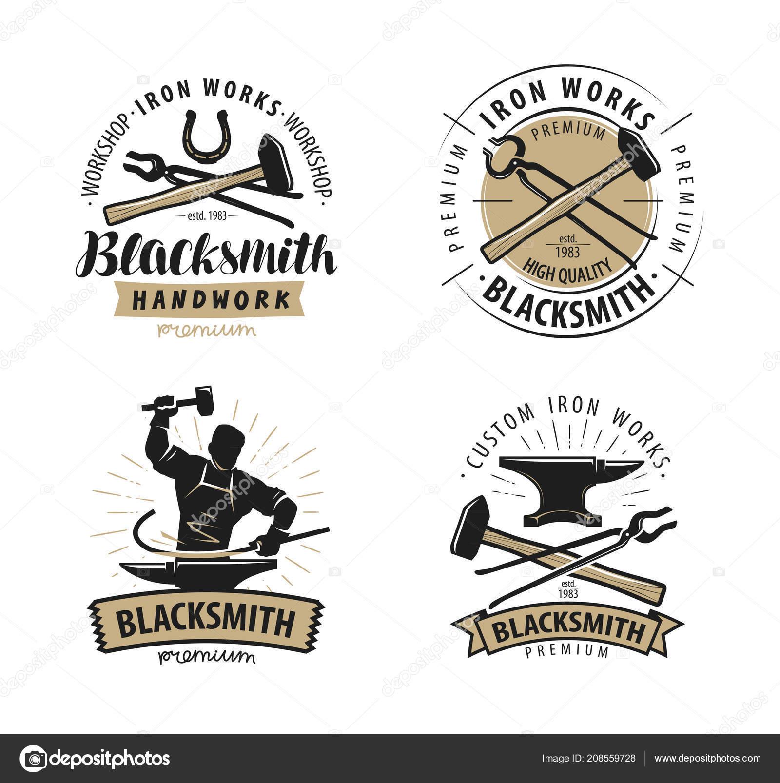 Blacksmith Forge Logo Or Label Blacksmithing Iron Work Symbol
