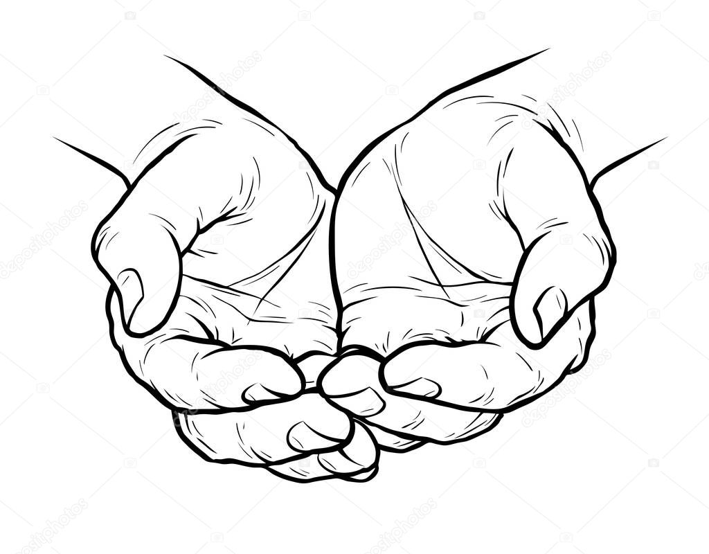 Hands Cupped Together Sketch Vector Illustration Isolated ...