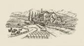 farma krajina, vesnice skica. ručně kreslenou vektorové vintage
