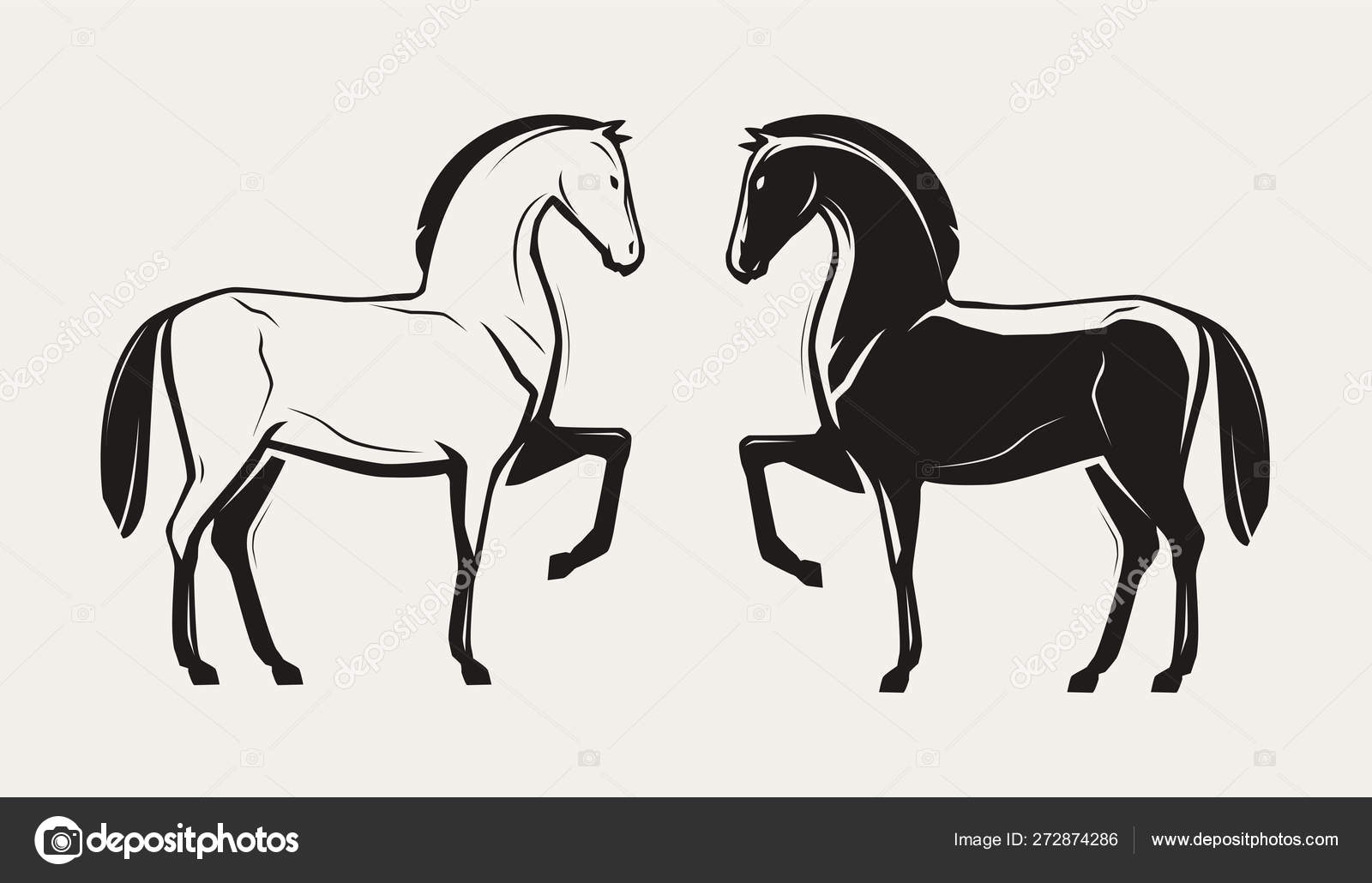 Silhouette Of A Standing Race Horse Vector Illustration Stock Vector C Sergeypykhonin 272874286