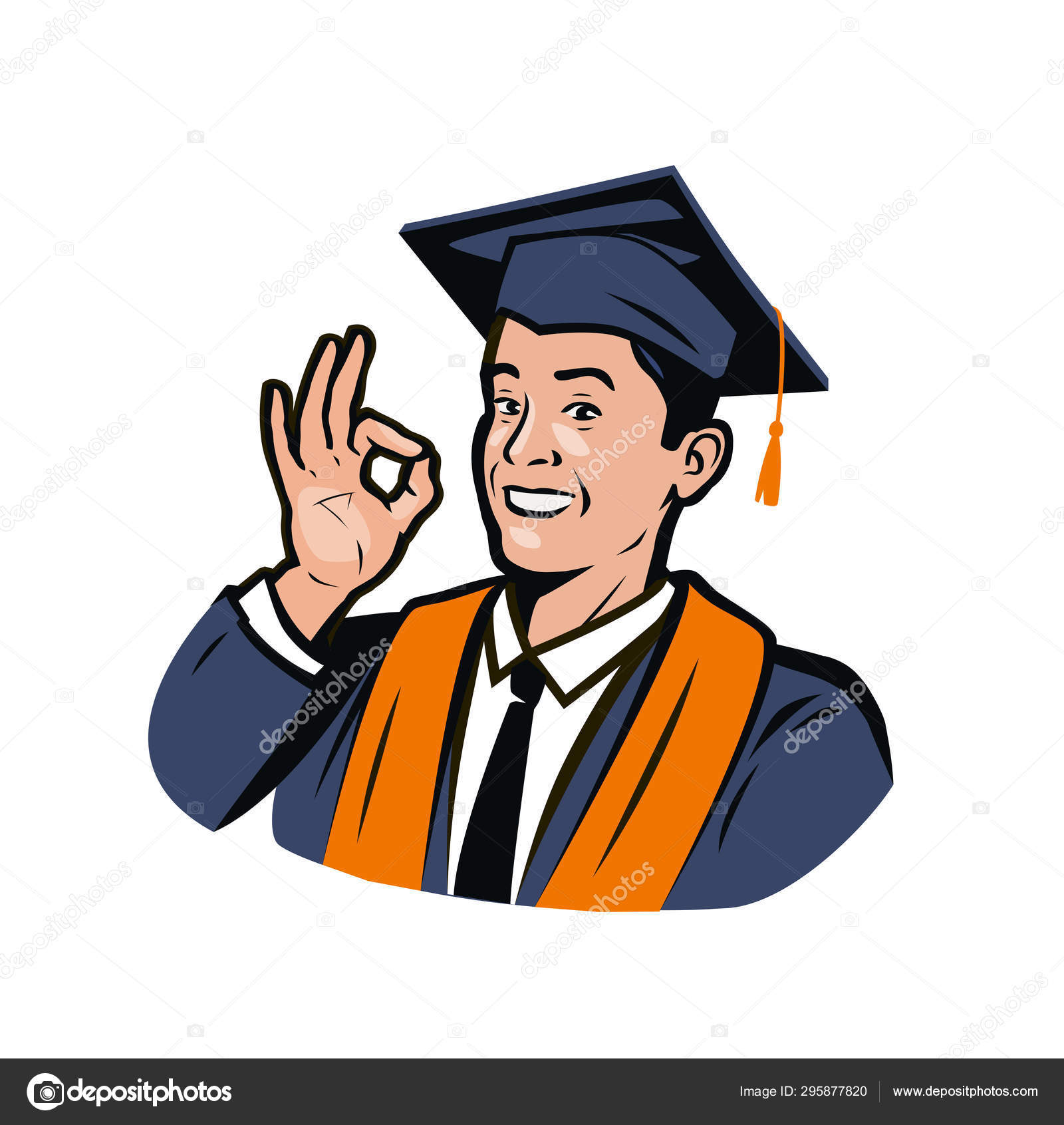 Estudiante Feliz En Vestido De Graduación Y Gorra