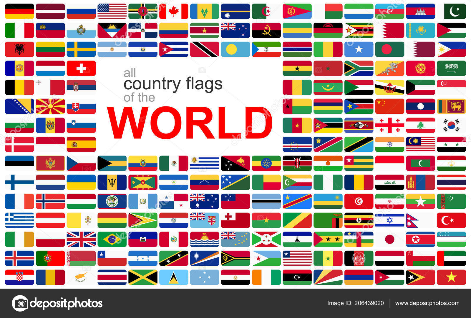 collection flags all national countries world stock vector