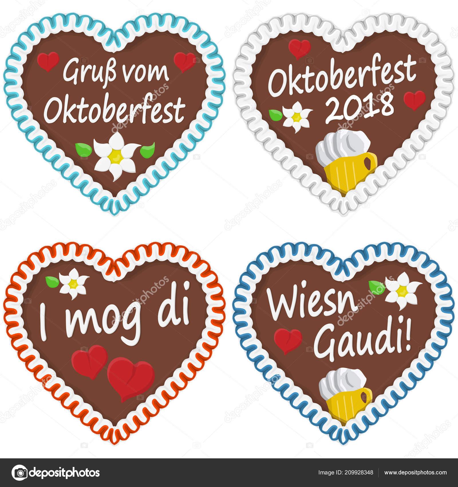 Illustrated Gingerbread Hearts Text German Oktoberfest 2018 Time