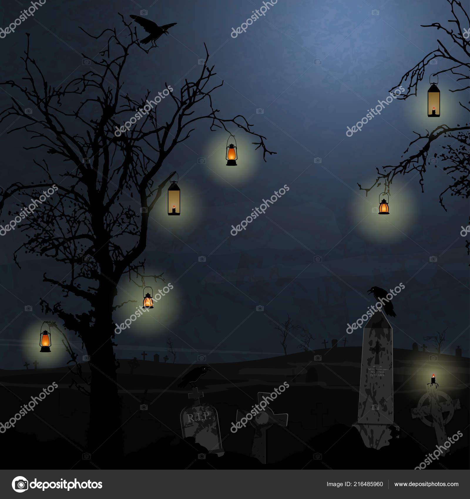 Halloween Cmentarz Tło Drzew Lampy Wiszące Przed Ciemną Noc