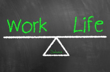 Work life balance green text and drawing on blackboard or chalkboard as healthy harmony lifestyle choice concept