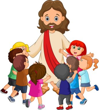 Cartoon Jesus Christ being surrounded by children clip art vector