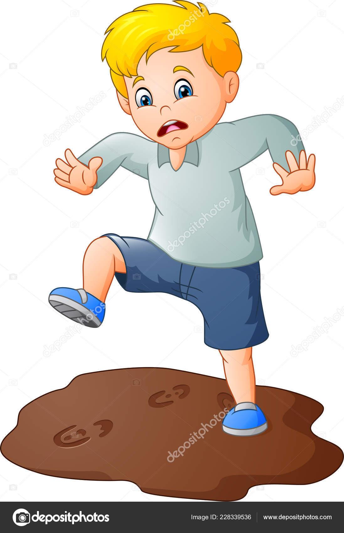 Cartoon sad boy mud puddle stock illustration