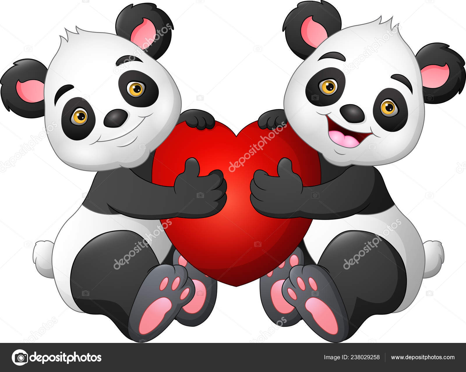 Cartoon Couple Panda Red Heart Stock Vector Idesign2000