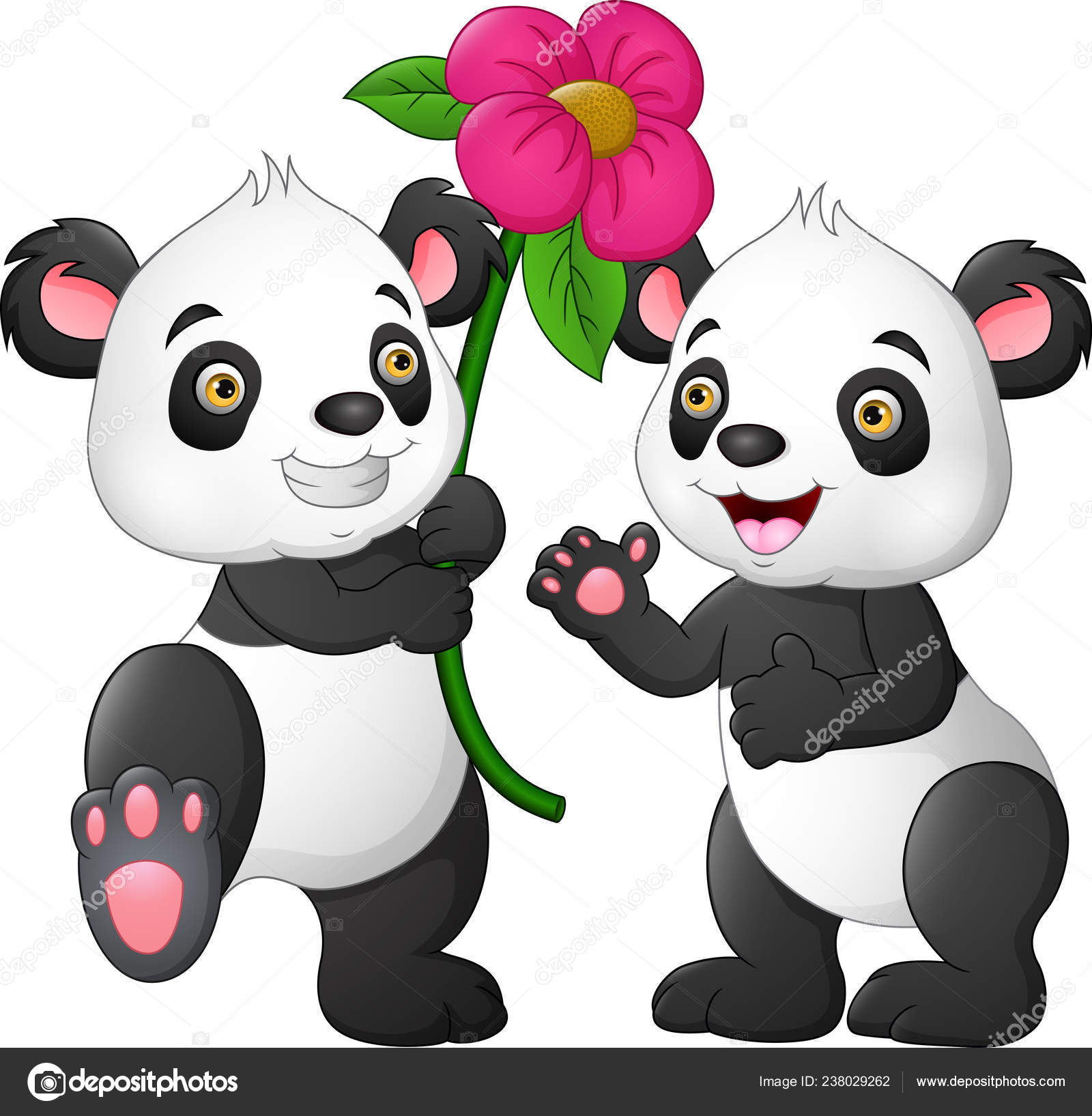 Cartoon Couple Panda Flowers– stock illustration