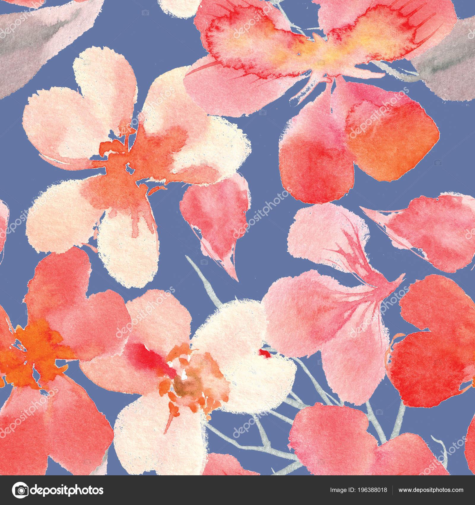 Watercolor Seamless Flower Pattern High Resolution Decor Design