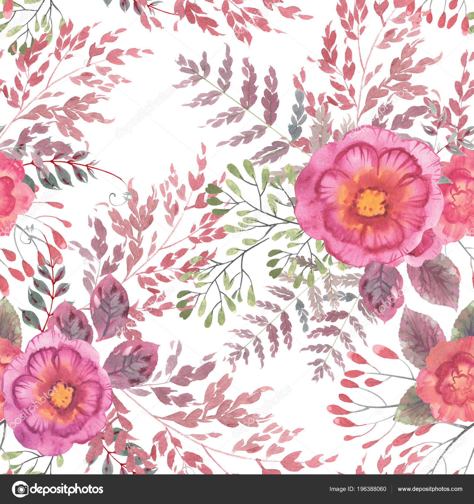 Watercolor Seamless Floral Pattern High Resolution Decor