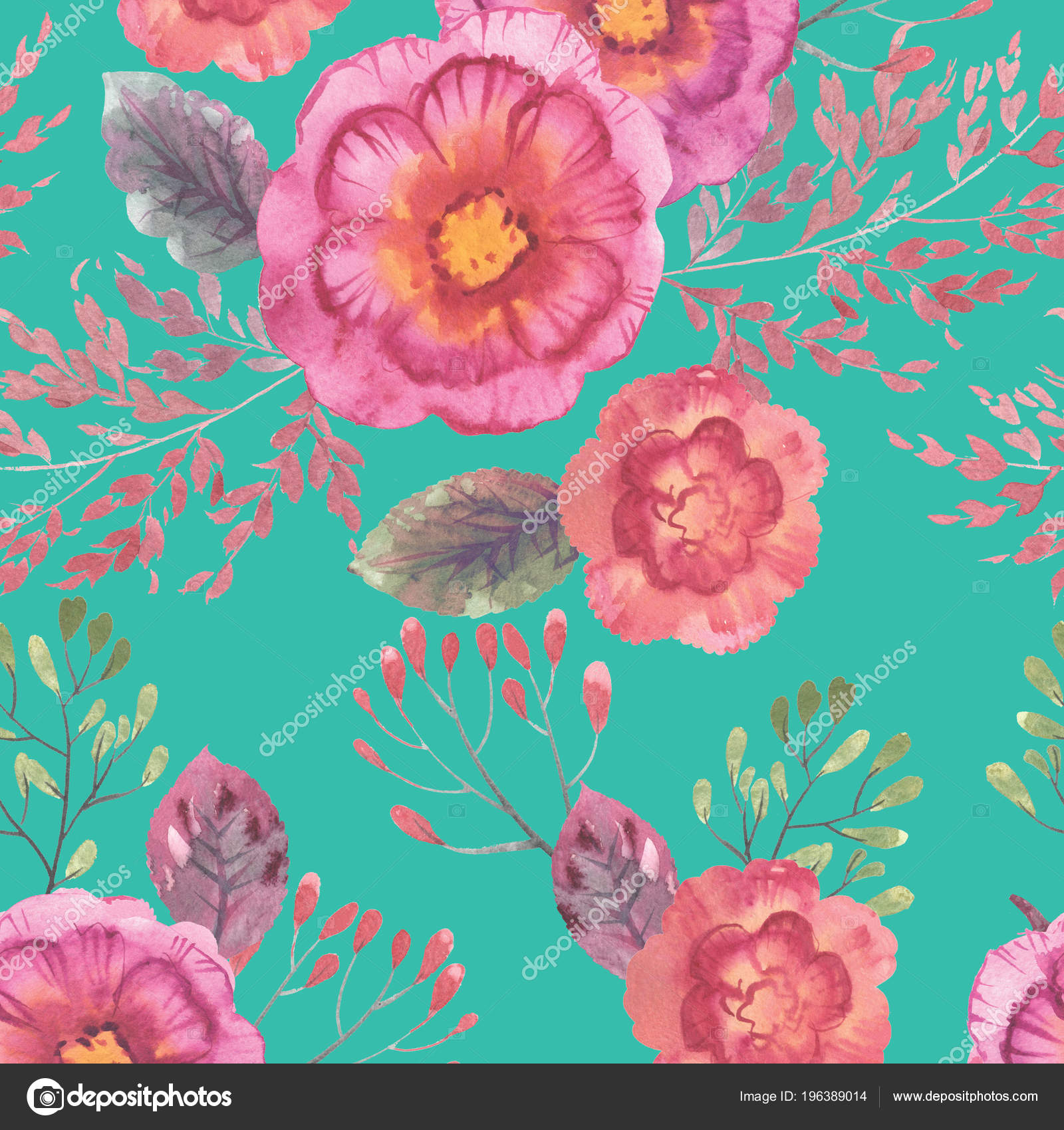 Background Hi Res Floral Watercolor Seamless Floral Pattern