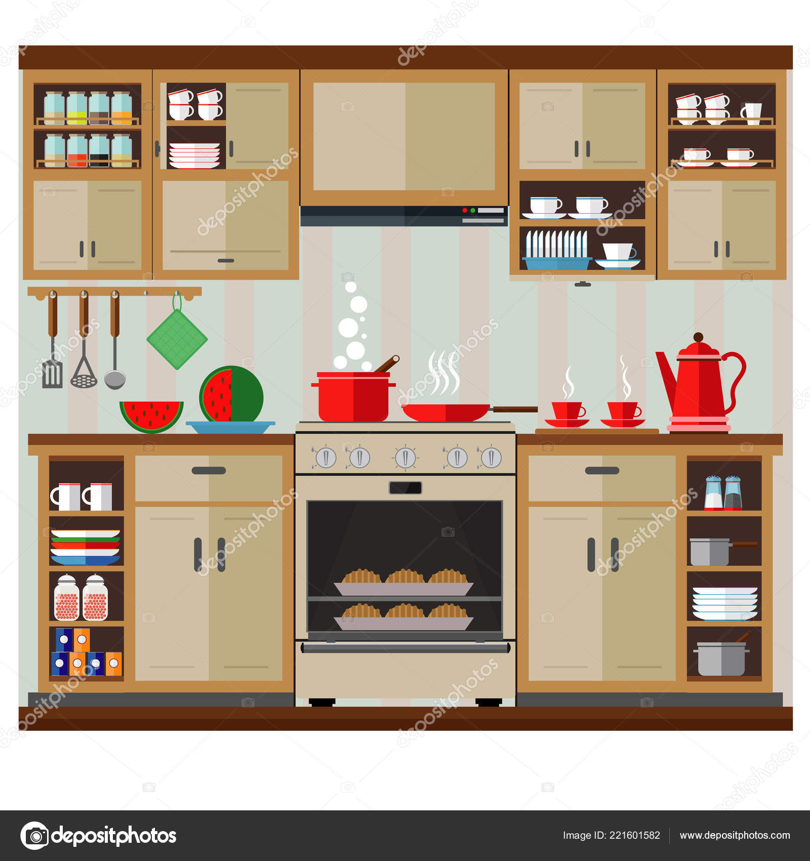 Interior kitchen set vector illustration interior kitchen decor stock vector