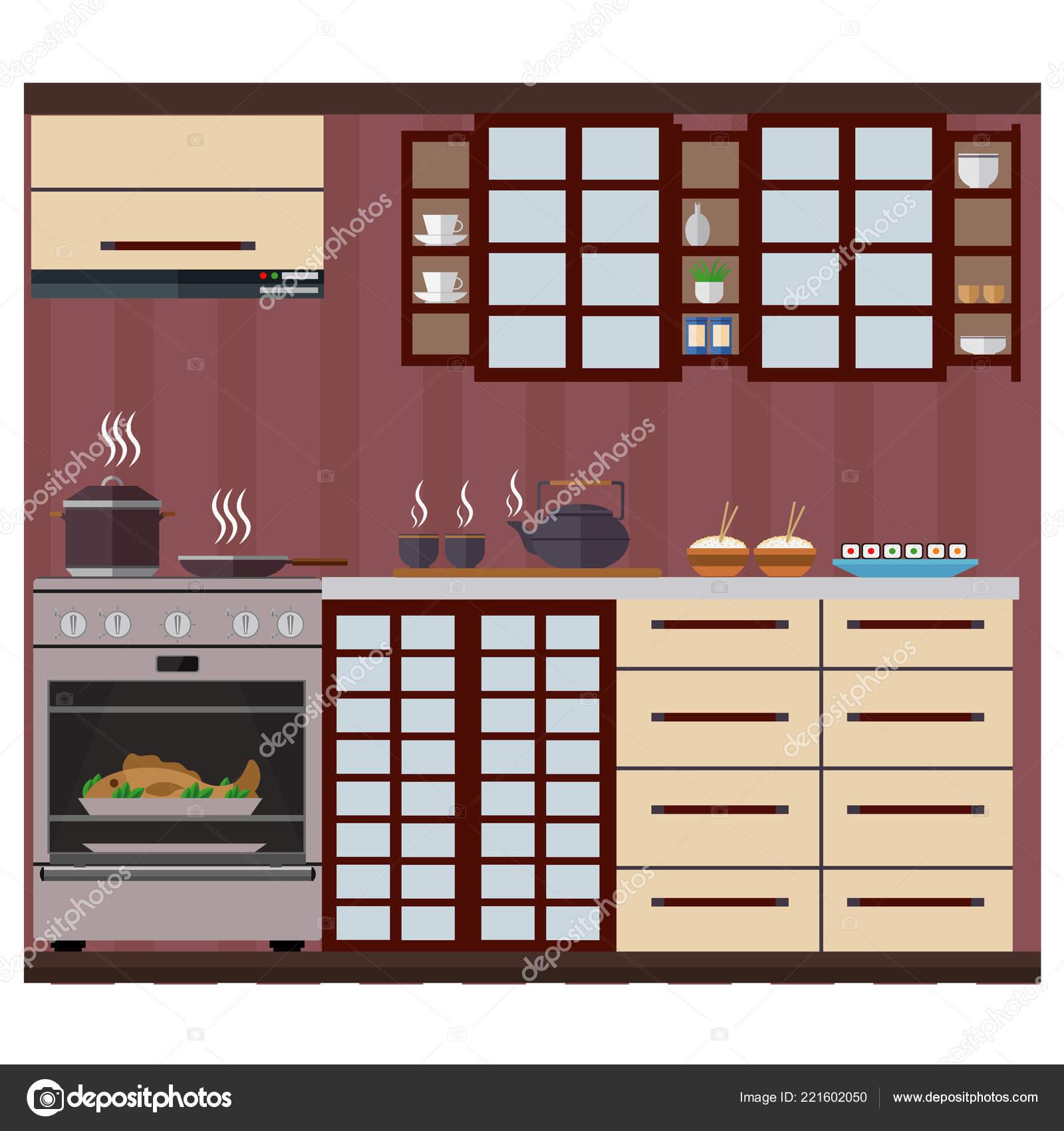 Cucina Stile Giapponese Con Armadi Scaffali Utensili Cucinare ...