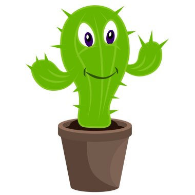 A kind and cheerful cactus in a pot. Vector cartoon illustration on a white isolated background. icon