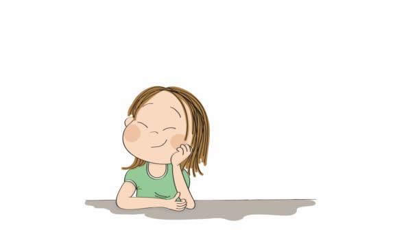 kleines süßes Mädchen, das tagträumt und sich etwas ausdenkt. Original handgezeichnete Animation eines Mädchens mit geschlossenen Augen, über ihrem Kopf erscheinen Traumblasen.