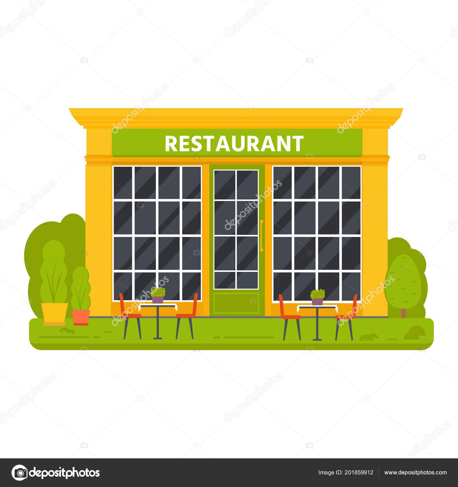 Small Restaurant Exterior Design Vector Flat Design Restaurant Exterior Shop Facade Store Front Window Stock Vector C Tanyasun 201859912