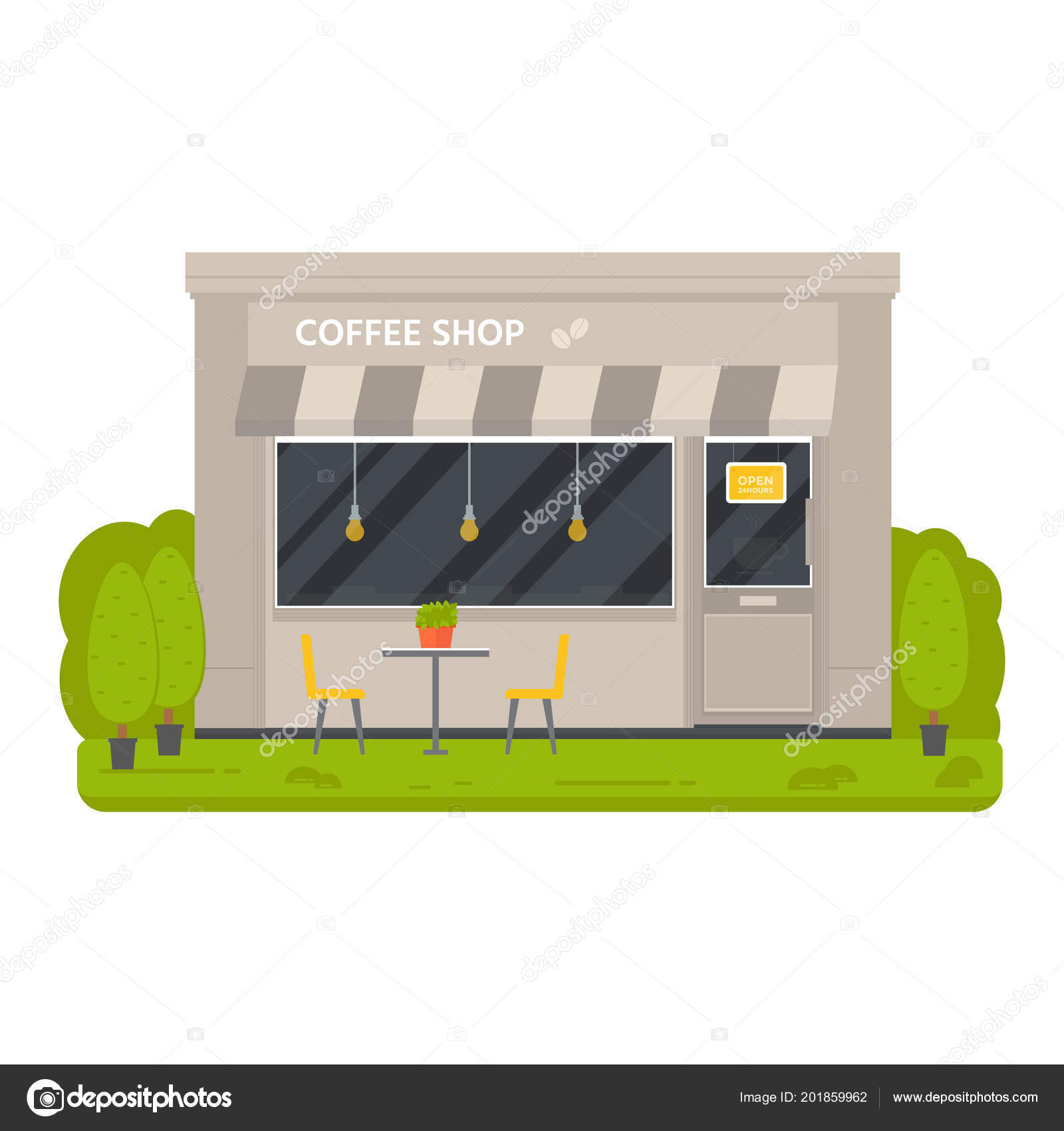 Vector Flat Design Restaurant Exterior Coffee Shops Facad Store Front U2014  Stock Vector