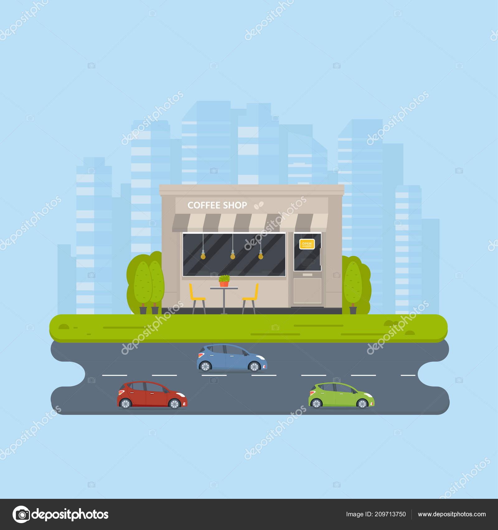 Vector Flat Design Restaurant Exterior Coffee Shops Facad Store Front Stock Vector C Tanyasun 209713750