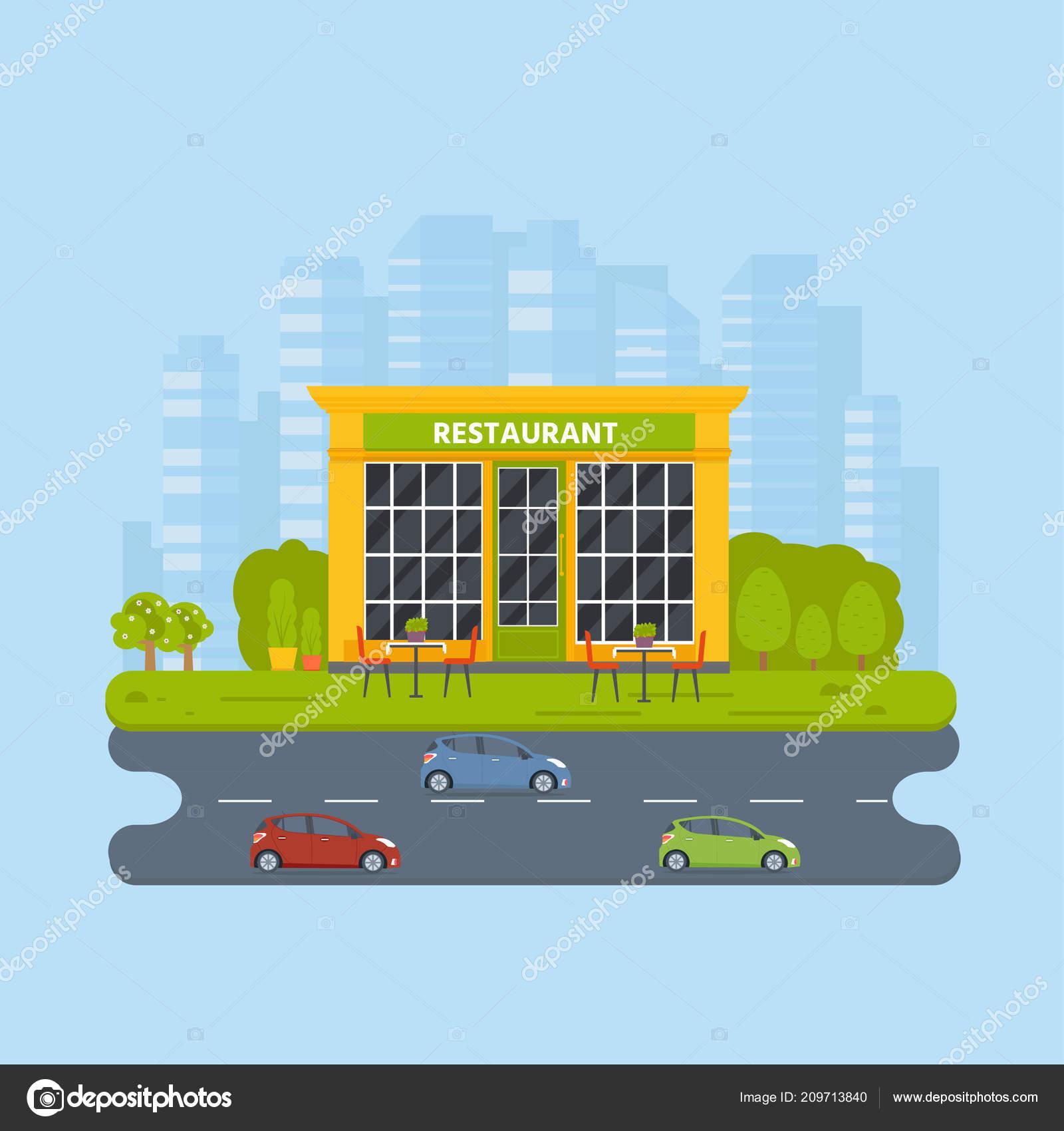 Vector Flat Design Restaurant Exterior Shop Facade Store Front Window Stock Vector C Tanyasun 209713840