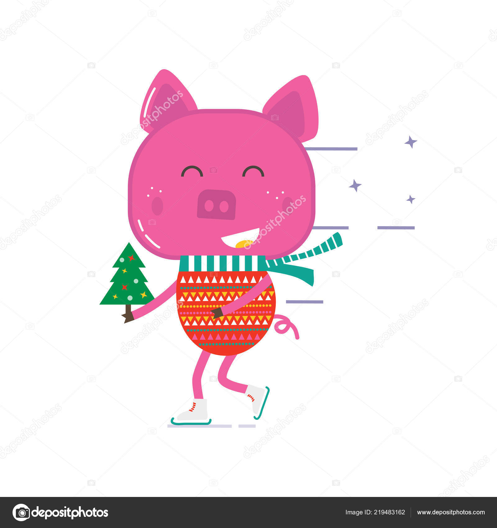 Merry Christmas Greeting Card Cute Animals Pig Flat Style Icons