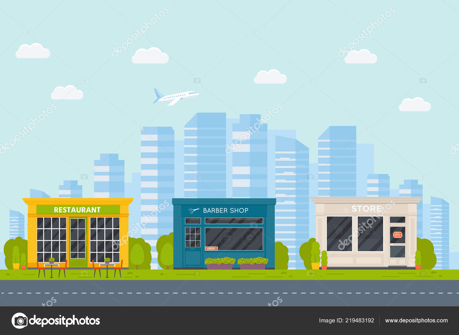 Set Vector Flat Design Restaurants Exterior Shops Facade Barber Shop Stock Vector C Tanyasun 219483192