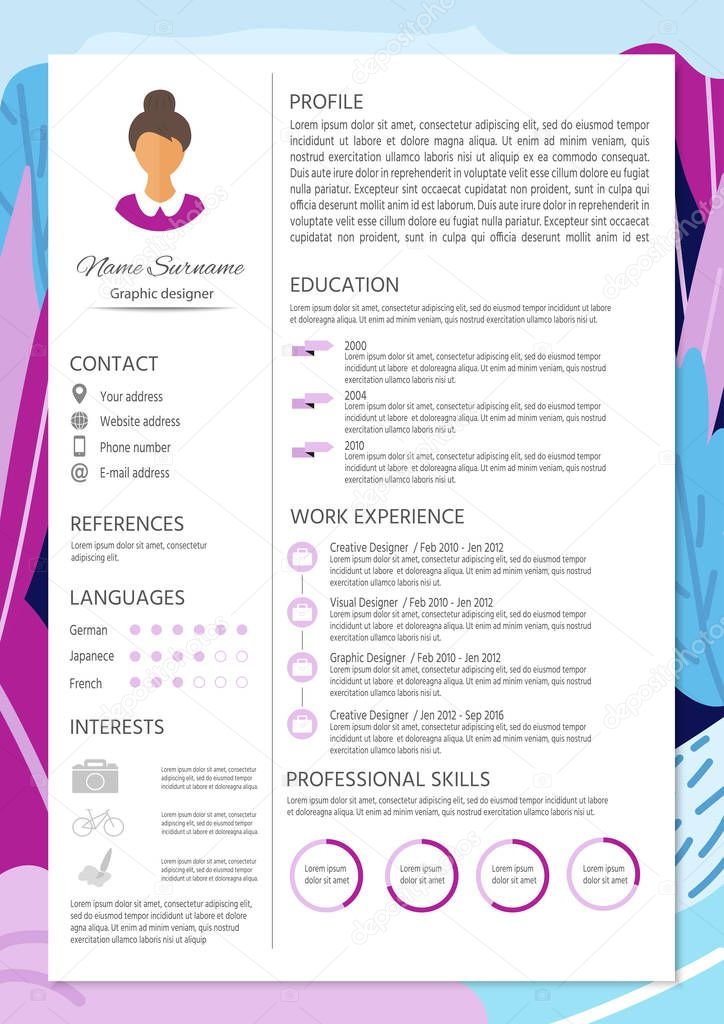 Resume Vector Template With Infographic Design Premium Vector
