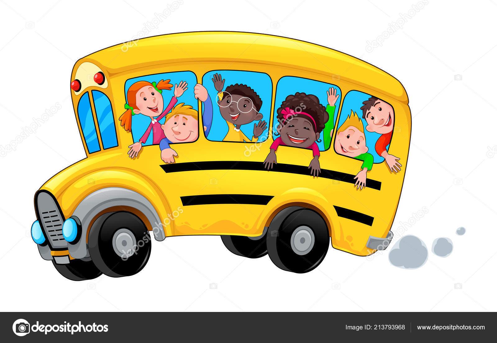 Autobus Scolaire Avec Des élèves Heureux Enfant Dessin Animé