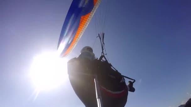 Rio de Janeiro city, Rio de Janeiro State, Brazil South America.12/20/2016Paraglider pilot, physical handicapped, flying in their own paragliding