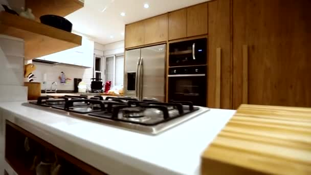 Interior of the modern apartment. Style with kitchen and living room. Lights being turned off.