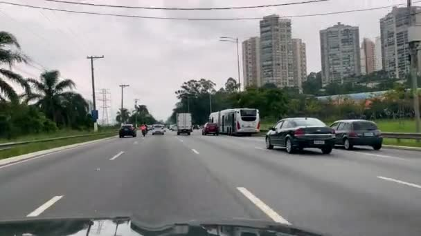 City of Sao Paulo, Brazil, South America.United Nations Avenue. April 2020.Traffic in cities during the quarantine. Coronavirus. COVID-19.