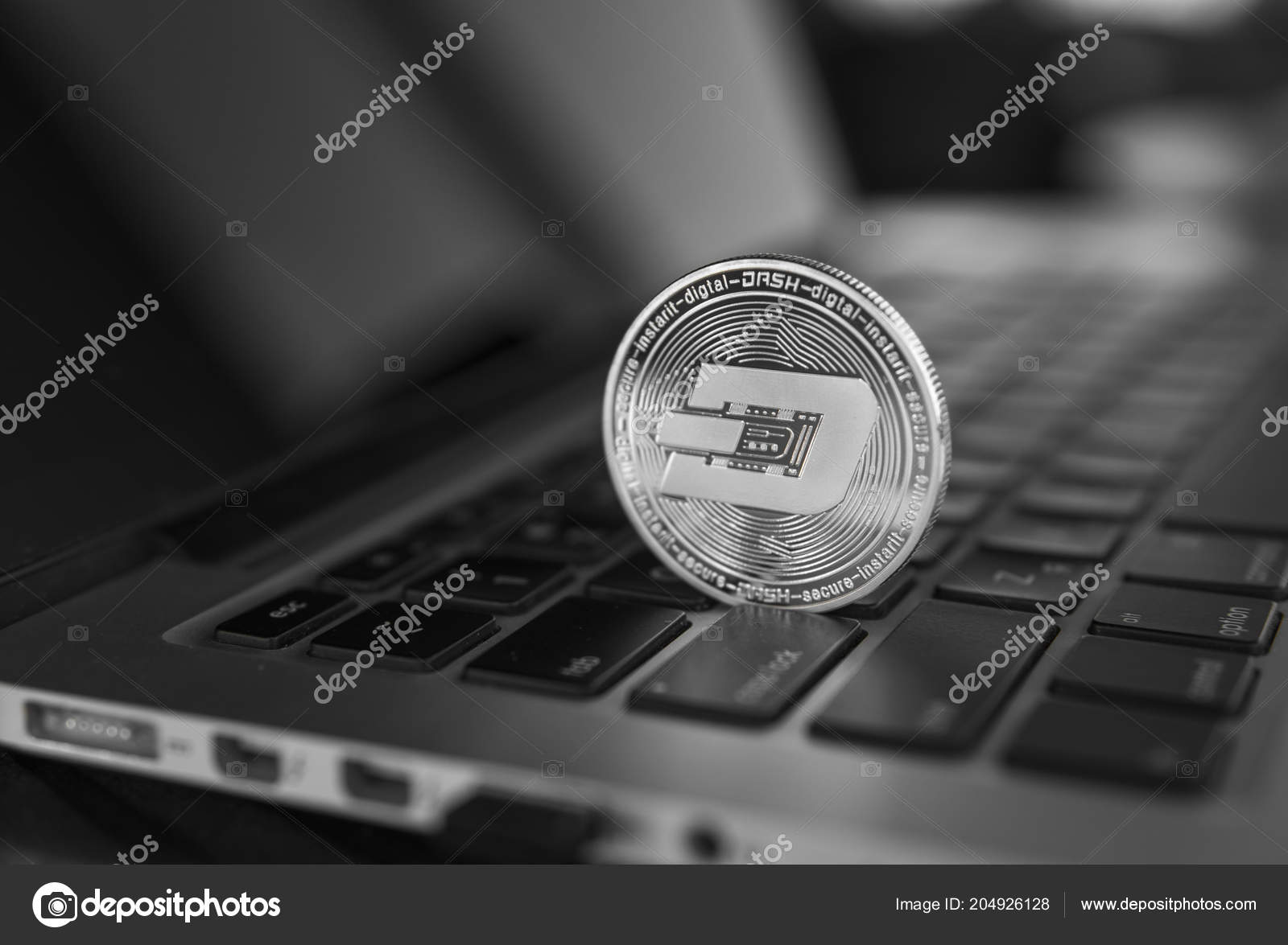 Dash coin symbol on laptop  Concept financial currency, crypto