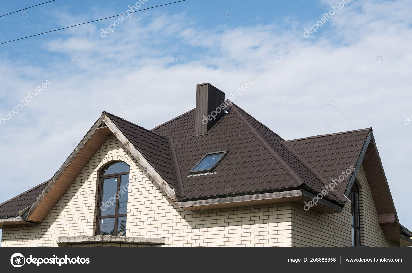 Images Pvc Roof Design Modern Roof Covered With Tile Effect Pvc Coated Brown Metal Roof Sheets Stock Photo C Volodymyrshtun 208686856