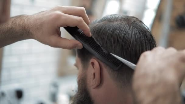 Close Up Of Barber Cuts The Hair By Scissors At Barbershop