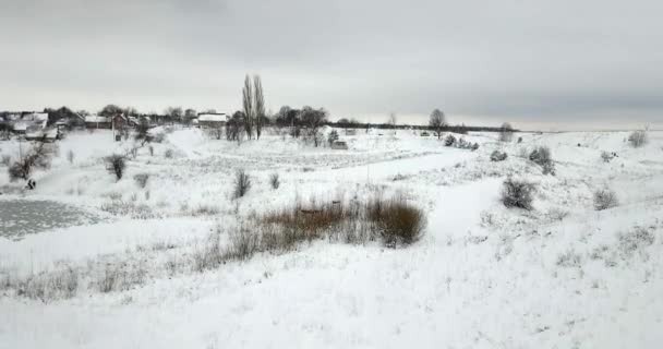 Frozen pond covered with a snow and plants covered with a snow near a village. Winter landscape.
