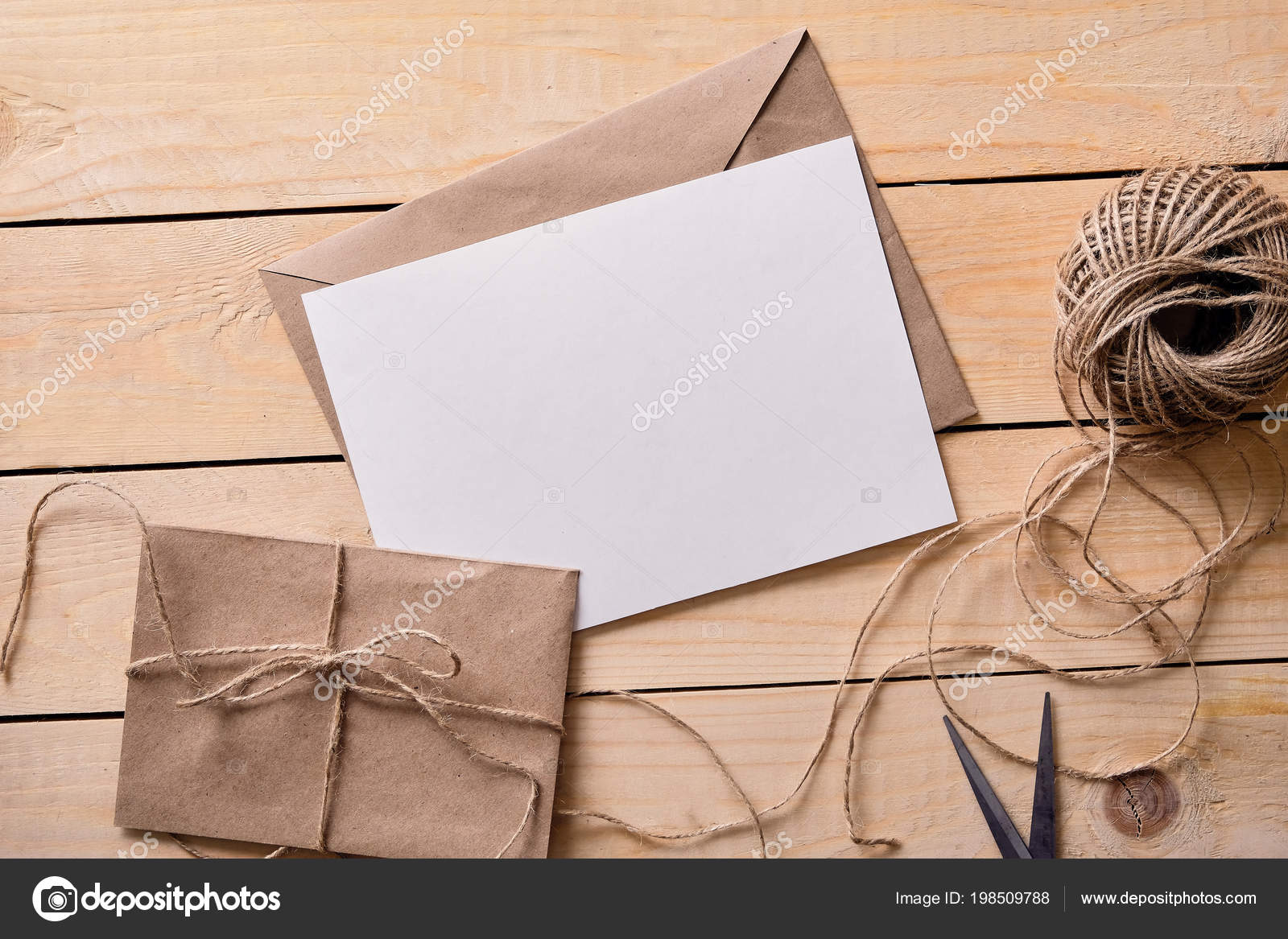 Top View Of Envelope And Blank Greeting Card Stock Photo