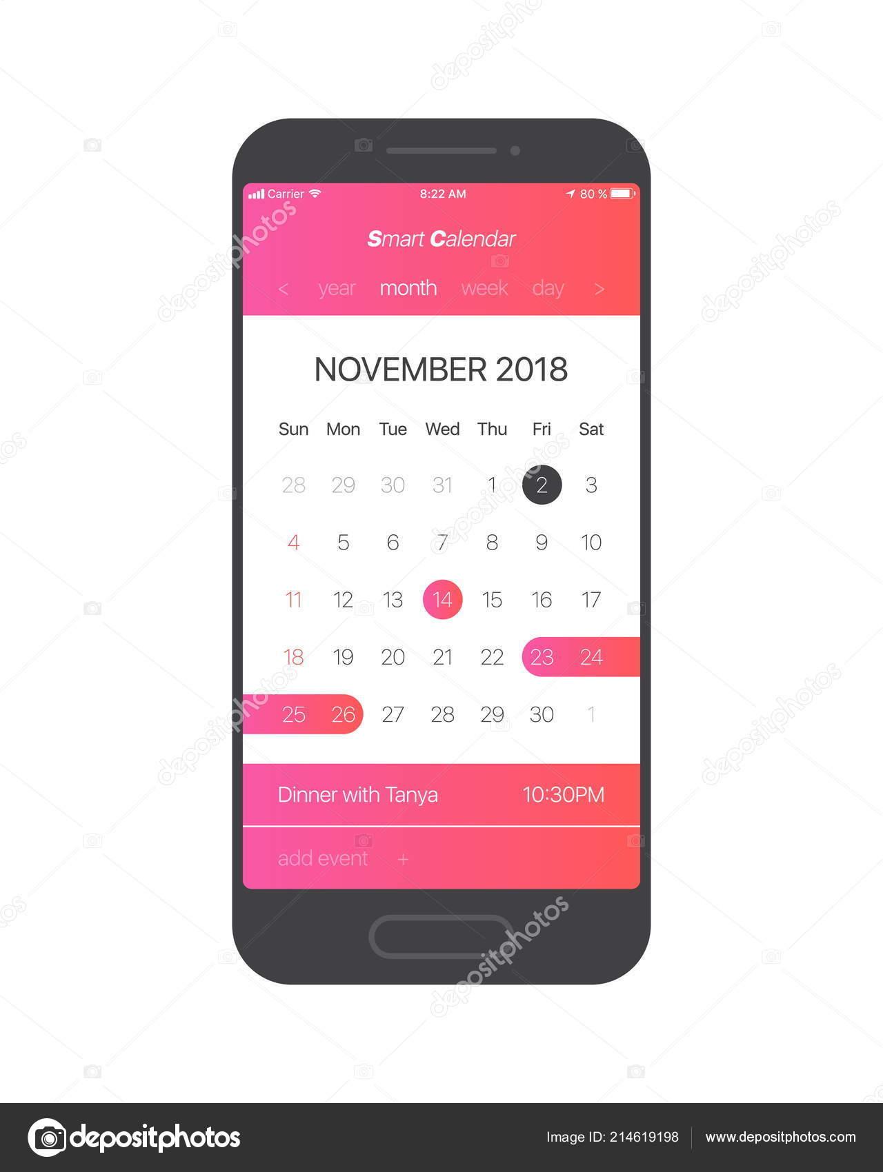 smart calendar app concept november 2018 page list tasks vector