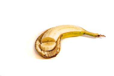 Sliced banana peel on a white background 2018