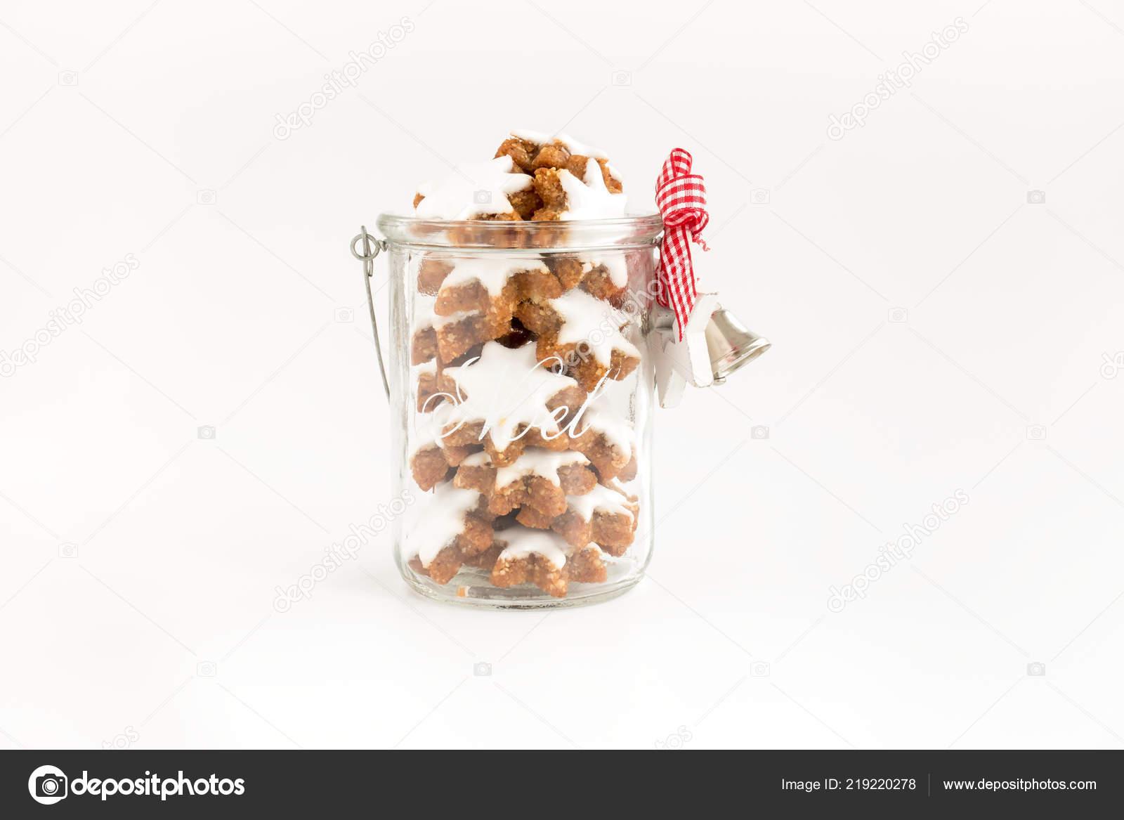Cinnamon Stars Zimtsterne German Christmas Cookies Glass Jar Noel