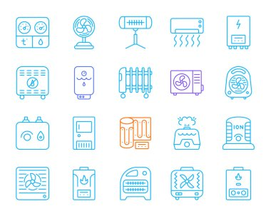 Hvac thin line icons set. Outline sign kit of climatic equipment. Fan linear icon collection includes blower heating, ionizer, humidifier. Simple hvac color contour symbol isolated Vector Illustration clip art vector