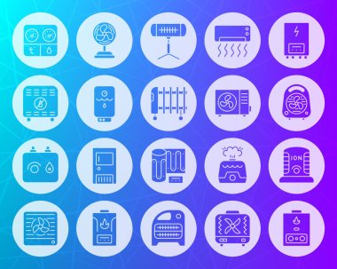 Hvac icons set. Sign kit of climatic equipment. Fan pictogram collection includes infrared heater, conditioner, ionizer. Simple hvac vector symbol. Icon shape carved from circle on colorful background clip art vector