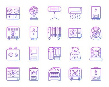 Hvac thin line icons set. Outline vector sign kit of climatic equipment. Fan linear icon collection includes infrared heater, conditioner, ionizer. Violet gradient simple hvac symbol isolated on white clip art vector