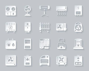 Hvac paper cut art icons set. 3D sign kit of climatic equipment. Fan pictogram collection includes convector, oil cooler, heat floor. Simple hvac vector paper carved icon shape. Material design symbol clip art vector